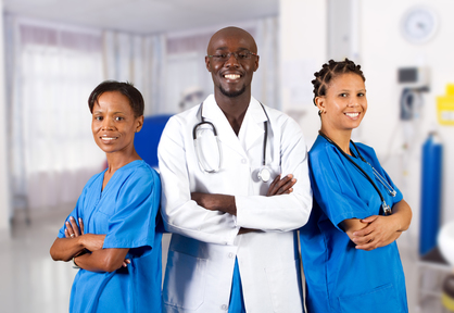 group of african american doctor and nurse in hospital ward